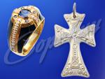 Мужской перстень и нательный крест. Ювелирная мастерская Сорокина О.В.