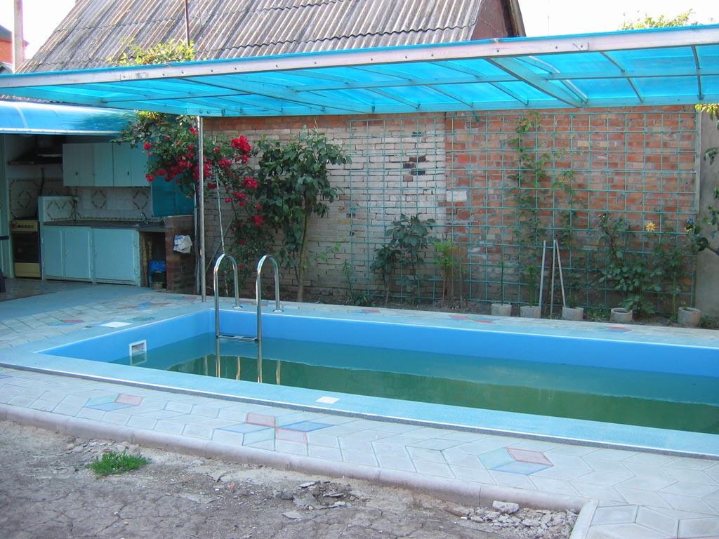 Навес из поликарбоната для бассейна своими руками 67