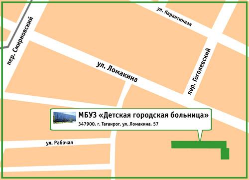 МБУЗ «Детская городская больница». 347900, г. Таганрог, ул. Ломакина, 57
