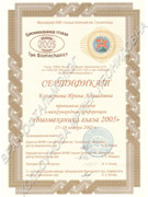 Сертификат об участии в научно-практической конференции 2005 г.
