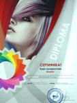 Сертификат. Имидж-студия Елены Даниленко «Mix»