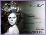 Сертификат. Прикорневой объем от Paul Mitchell, январь 2015. Имидж-студия Елены Даниленко «Mix»